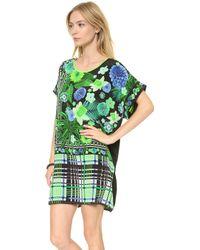 Emma Cook - Kaftan Dress Floral Check Green - Lyst