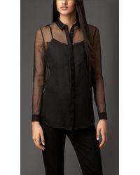 Burberry Sheer Silk Organza Shirt - Lyst