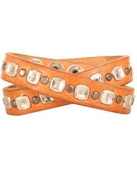 Will Leather Goods - Studded Wrap Cuff - Tan - Lyst