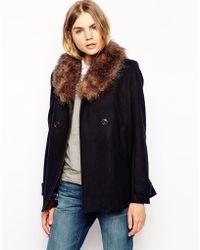 Parka London Lottie Wool Pea Coat With Detachable Faux Fur Collar - Lyst