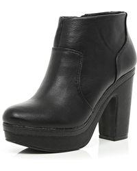 River Island Black Platform Ankle Boots - Lyst