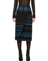 Burberry Prorsum Black and Blue Geometric Wrap Skirt - Lyst