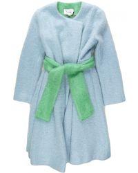 Novis The Quincy Wrap Coat With Belt blue - Lyst