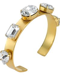 Mews London - Clear Crystal 5 Stone Gold Bangle - Lyst