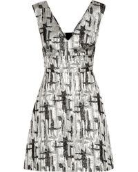 Lulu & Co Cutout-Back Metallic Jacquard Mini Dress - Lyst