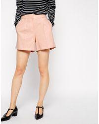 Asos Linen Pleat Shorts - Lyst