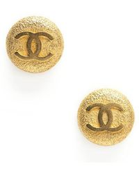 Chanel Pre-owned Gold Cc Button Clip On Earrings - Lyst