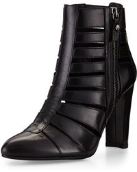 Stuart Weitzman Airliner Cutout Leather Bootie - Lyst