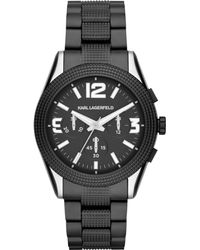 Karl Lagerfeld Unisex Chronograph Kurator Black Ionplated Stainless Steel Bracelet Watch 42mm - Lyst