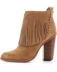 Cynthia Vincent - Native Suede Fringe Booties - Tan - Lyst