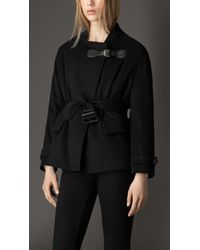 Burberry Wool Cashmere Wrap Coat - Lyst