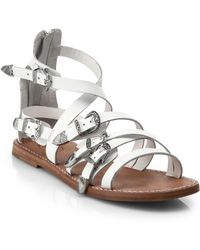 Ash Penelope Buckled Strappy Leather Sandals white - Lyst