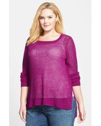 Eileen Fisher Plus Size Women'S Round Neck Organic Linen Boxy Top - Lyst