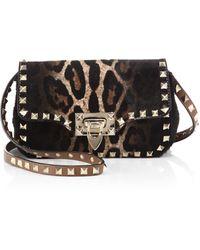Valentino Rockstud Leopard-print Calf Hair Crossbody Bag - Lyst