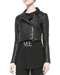 Haute Hippie Cropped Quilted Leather Moto Jacket - Lyst