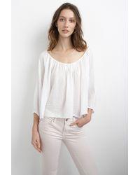 Velvet By Graham & Spencer West Cotton Gauze Peasant Top white - Lyst