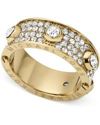 Michael Kors Goldtone Crystal Accent Ring - Lyst