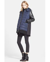 Moncler 'Blois' Mixed Media Coat multicolor - Lyst
