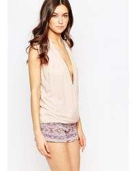 Millie Mackintosh - Nude Cross Over Draped Top - Lyst