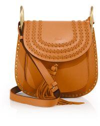 Chlo�� Inez Small Studded Leather Shoulder Bag in Black (Black/Gold ...