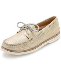 Sperry Top-Sider Metallic Boat Shoes - Platinum - Lyst