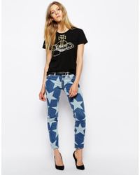 Vivienne Westwood Anglomania Skinny Jeans with All Over Star Print - Lyst