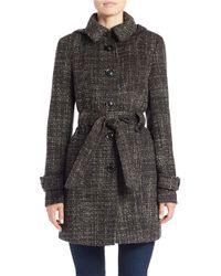 Gallery - Hooded Belted Coat - Lyst