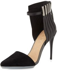 L.A.M.B. Tomas Mixed Leather And Suede Pump - Lyst
