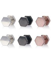 River Island Mixed Metal Hexagon Plug Earrings multicolor - Lyst