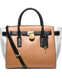 Michael Kors Hamilton Traveler Large Color-block Leather Satchel - Lyst
