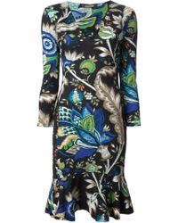 Roberto Cavalli Flower Print Dress - Lyst