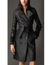 Burberry Crushed Sequin Silk Blend Trench Coat - Lyst
