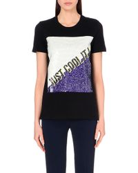Sandro Sequin Graphic Cotton-Jersey T-Shirt - Lyst