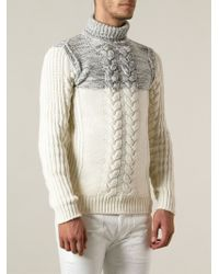 Diesel Cable Knit Turtleneck Sweater - Lyst