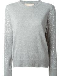 MICHAEL Michael Kors Crystal Embellished Sleeved Sweater - Lyst