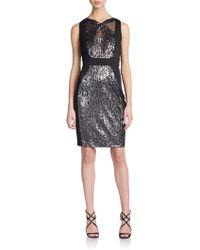 Jax Sequin Colorblock Sheath Dress - Lyst
