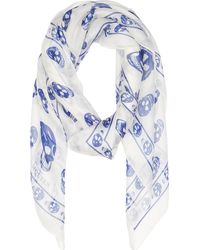 Alexander McQueen White And Blue Chiffon Skull Scarf - Lyst