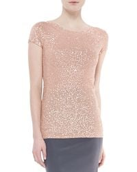 Donna Karan New York Sequined Cashmeresilk Top Flesh - Lyst