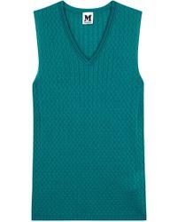 M Missoni - Teal Fine-knit Wool Blend Tank - Lyst