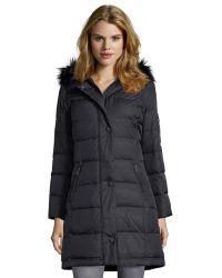 DKNY Black Woven Sarah 34 Length Down Filled Jacket - Lyst