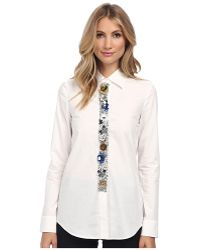 Vera Wang Cotton Poplin Oxford Shirt with Muticolor Sequin Flower Placket - Lyst