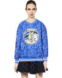 Just Cavalli Satin Patch On Viscose Lace Sweatshirt - Lyst