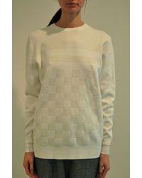 Edun Combo Checkered Crew Sweater Optic White - Lyst