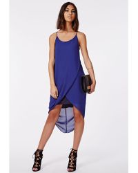Missguided Vera Chiffon Midi Dress Cobalt - Lyst