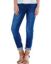 Joie Mid Rise Rolled Skinny Pant blue - Lyst