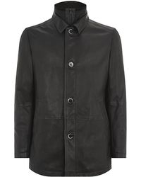 Boss Black Leather Jacket with Insert - Lyst