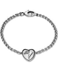 Gucci Flora Sterling Silver Heart Bracelet - Lyst