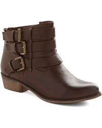 ModCloth It Just So Happens Bootie brown - Lyst