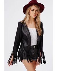 Missguided Fringed Hem Faux Leather Jacket Black - Lyst