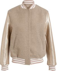 MSGM Gold Sleeve Bomber Jacket - Lyst